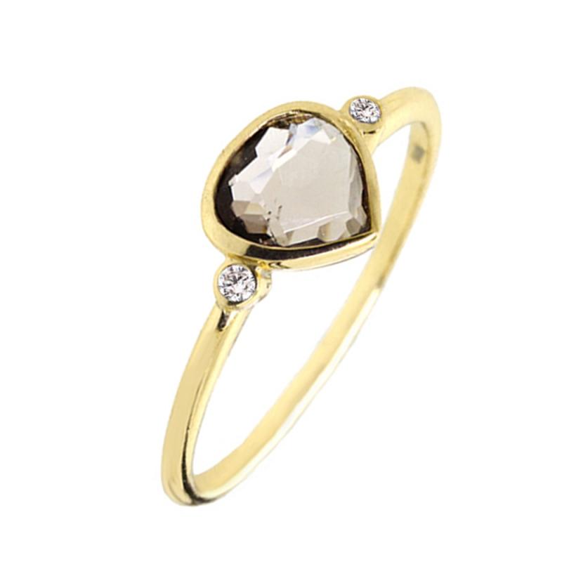 Yellow Gold Vermeil Smoky Quartz Ring , Sophie