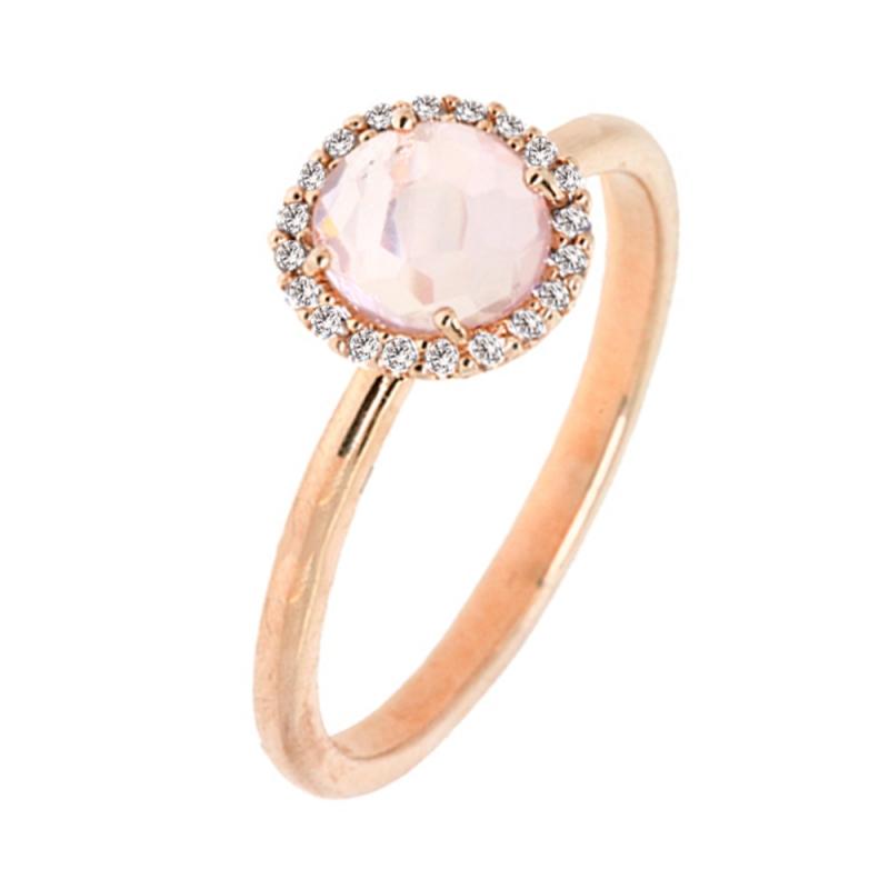 Rose Gold Vermeil Pink Quartz Ring , Iriana