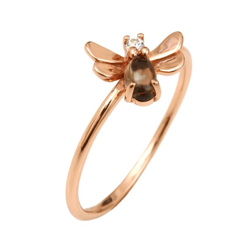 Rose Gold Vermeil Moonstone Ring , Vaena
