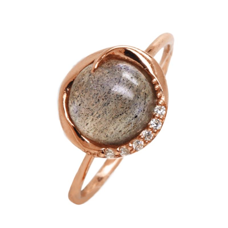 Rose Gold Vermeil Labradorite Ring , Lalie