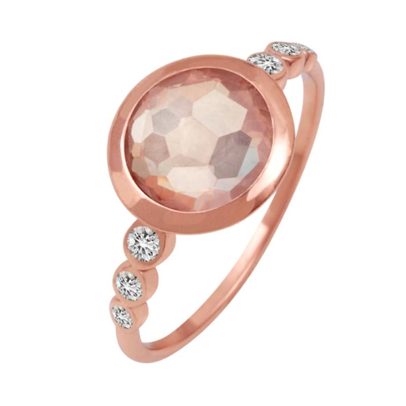 Rose Gold Vermeil Pink Quartz Ring , Zita