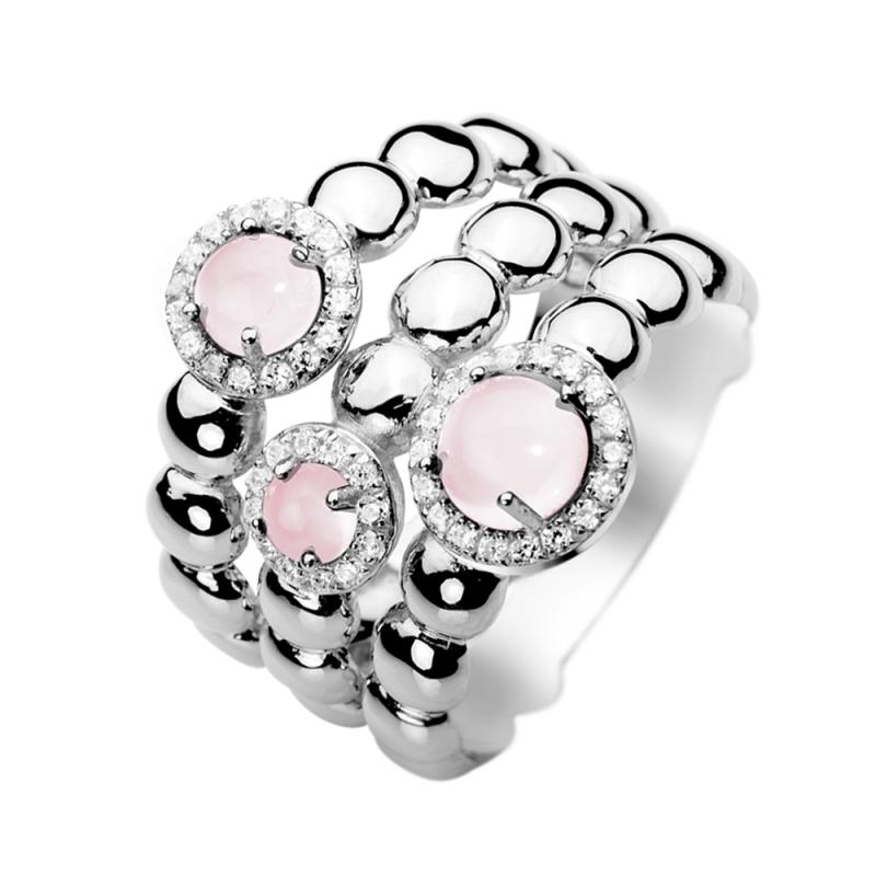 Silver Pink Quartz Ring , Florea
