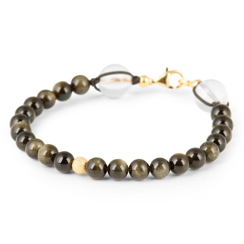 Vermeil and Obsidian Stone Bracelet , Le Vingt-Deux