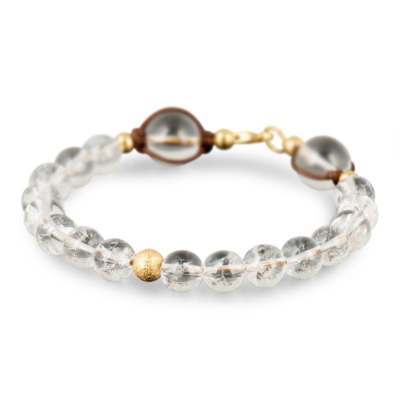 Bracelet Cristal de Roche, Argent Plaqué Or , Le Vingt-Deux Plus