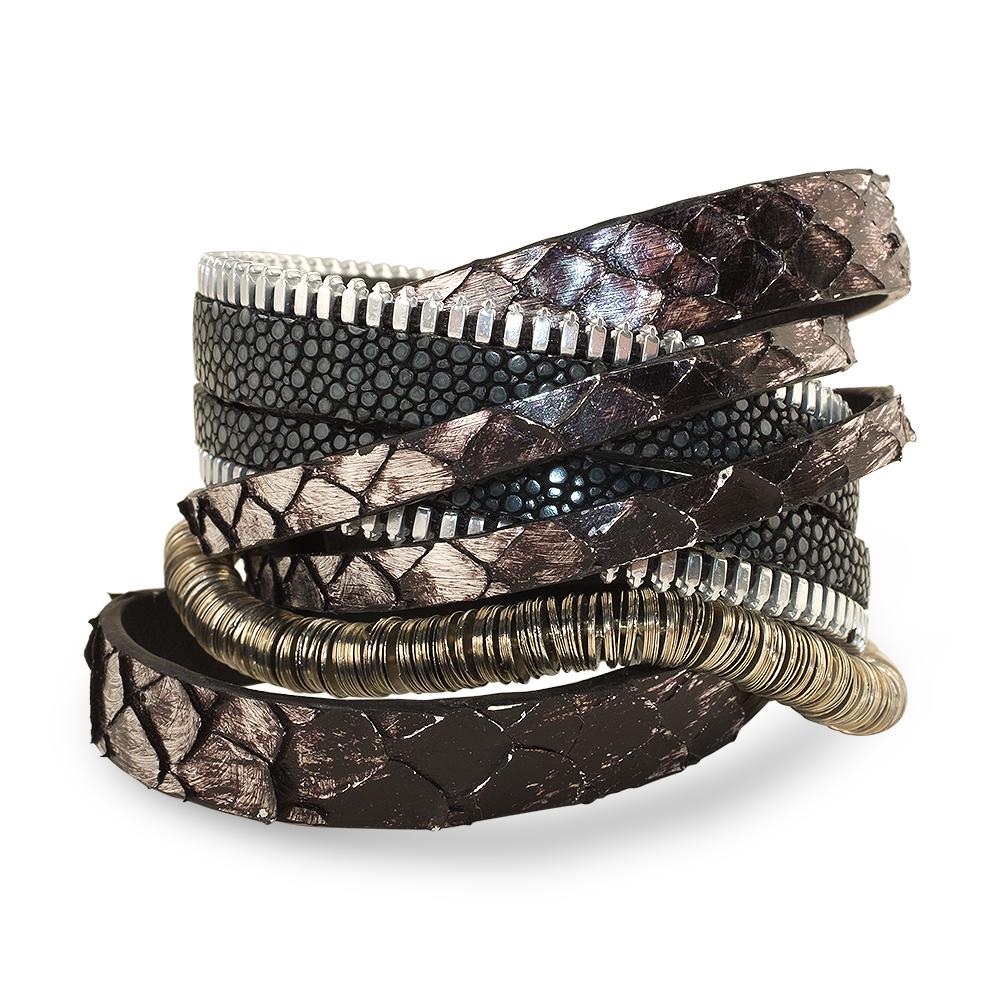 bracelet manchette python irise galuchat et plaqué argent twinsy coralie paris diveene joaillerie