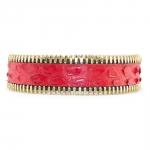bracelet pour elle et lui python rouge et plaqué or jaune miss coralie paris diveene joaillerie
