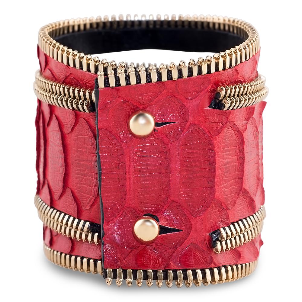 bracelet manchette pour elle python rouge et plaqué or jaune selah coralie paris diveene joaillerie