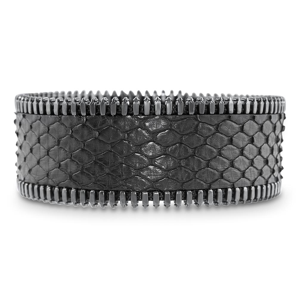 bracelet pour elle et lui python noir et plaqué vieil argent mr and mrs coralie paris diveene joaillerie