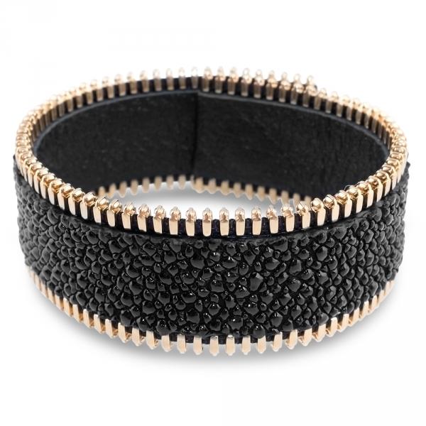bracelet pour elle et lui galuchat noir et plaqué or jaune mr and mrs coralie paris diveene joaillerie
