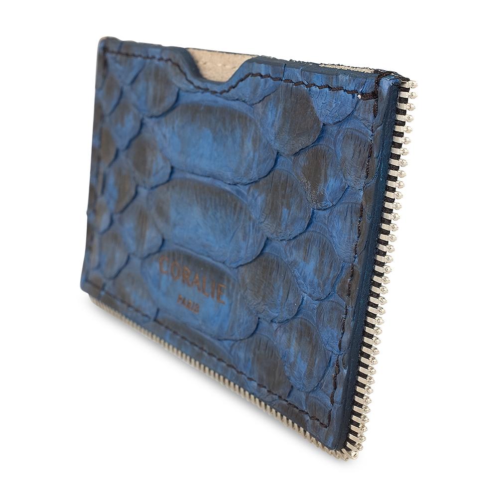 porte carte en python bleu createur diveene joaillerie