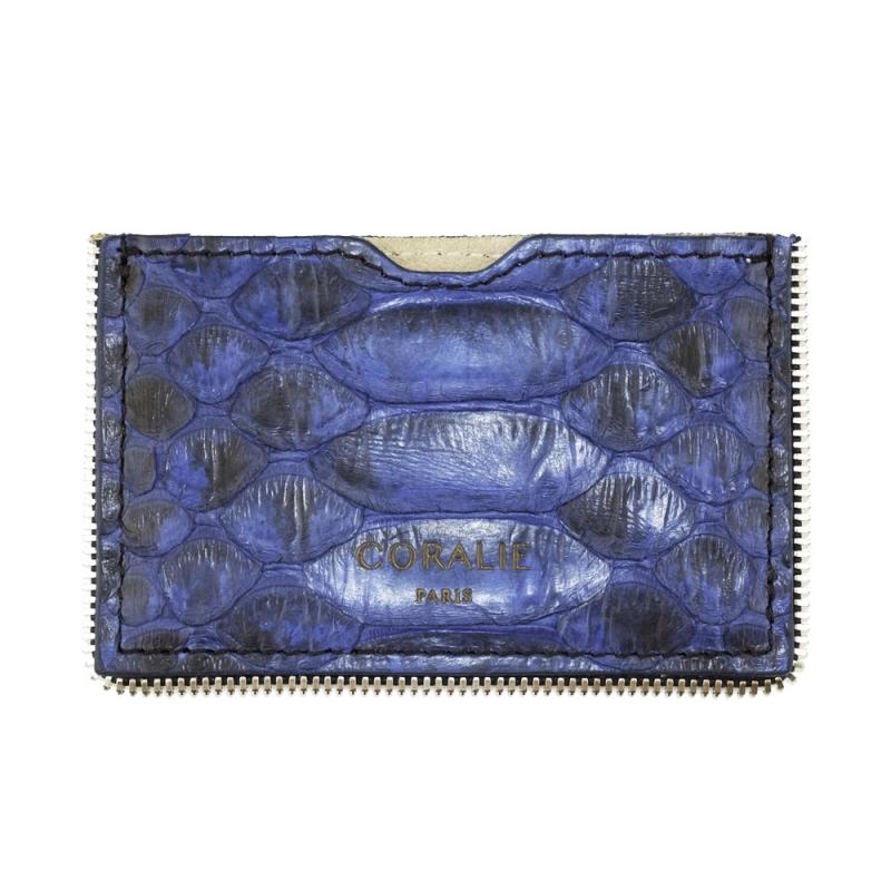 Porte-Carte Python Bleu, Biais à Glissière Plaqué Argent , Mr & Mrs
