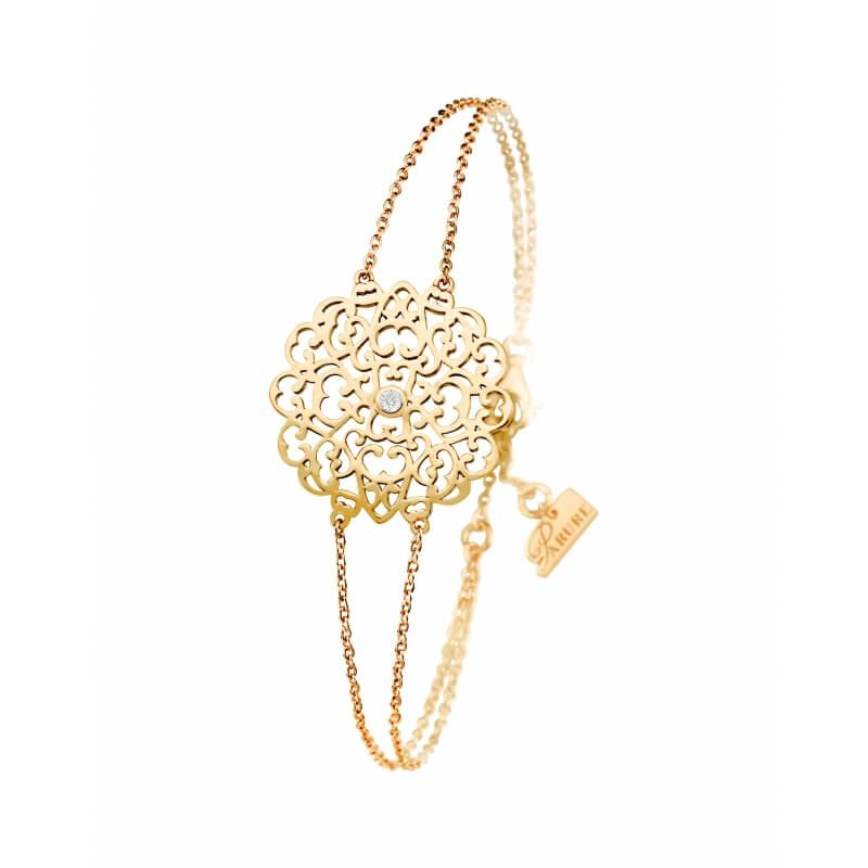 Bracelet vermeil jaune, Diamant , Dentelle