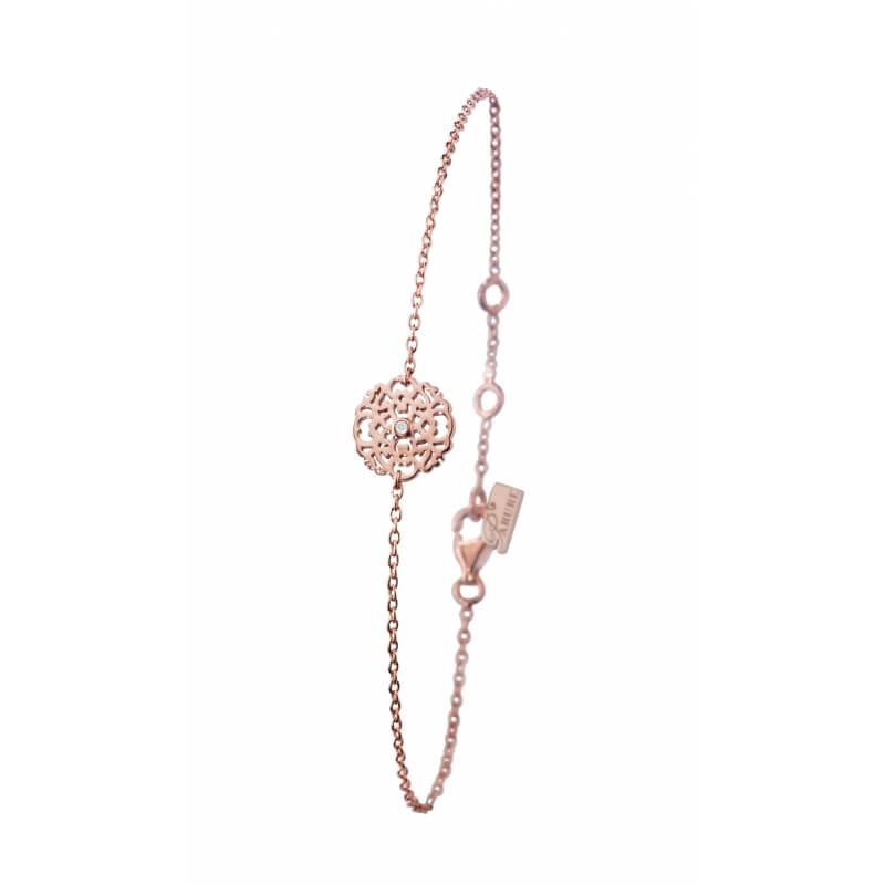 Bracelet argent 925 plaqué or rose diamant , Dentelle M