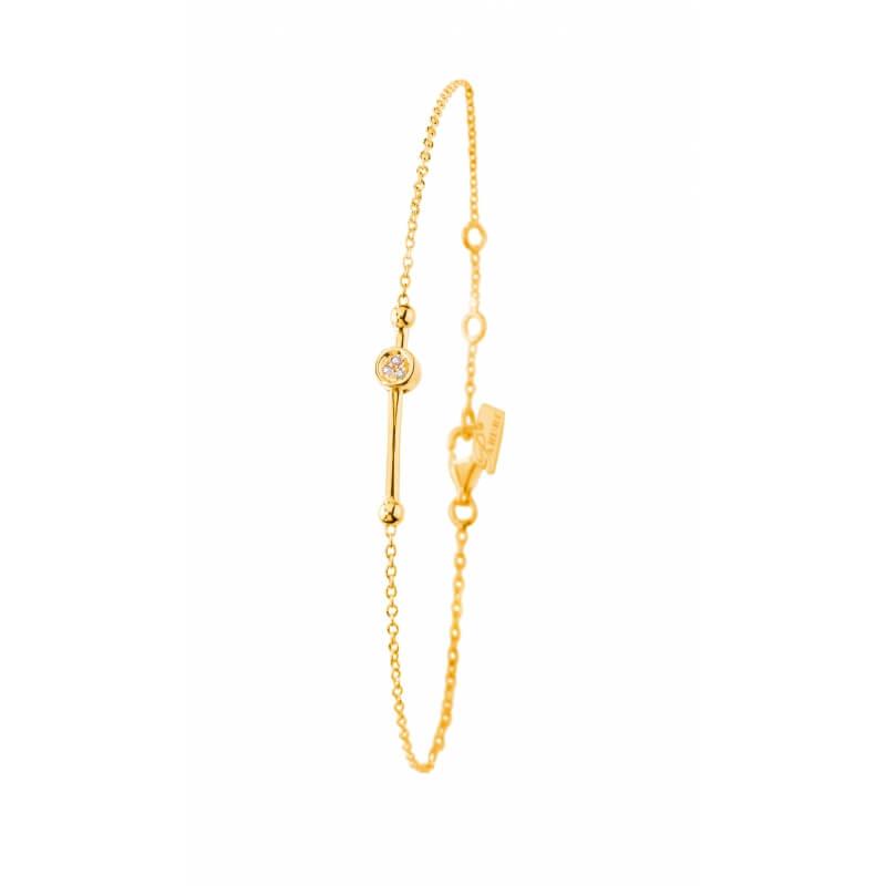 Bracelet Argent 925 plaqué Or jaune diamant , Sweet Swing
