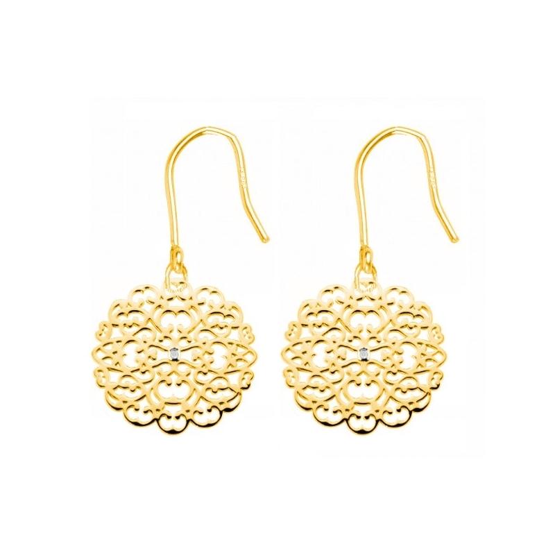 Boucles d'oreilles vermeil jaune, Diamants , Dentelle