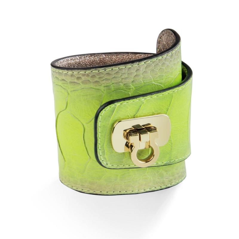 Bracelet en Cuir d'Autruche Vert Tropical , Hermione