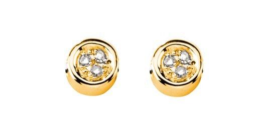 Boucles d'oreilles argent 925 plaqué Or jaune  diamants