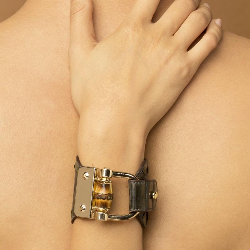 Bracelet en Cuir de Lézard Gloss Rose , Portia