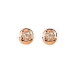 Boucles d'oreilles argent 925 plaqué or rose diamants