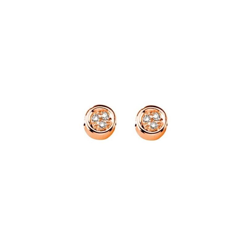 Boucles d'oreilles vermeil rose, Diamants , Sweet Swing