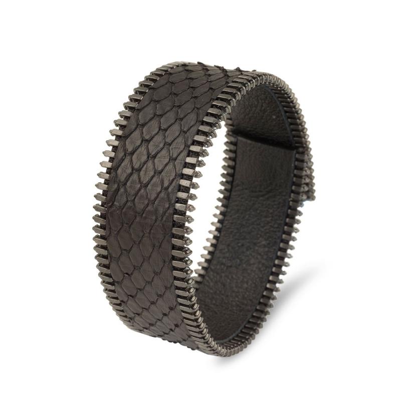 Bracelet Python Elle et Lui, Biais à Glissière Plaqué Vieil Argent , Mr & Mrs