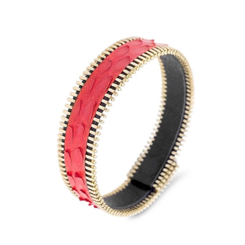 Bracelet Python Rouge, Biais à Glissière Plaqué Or , Miss