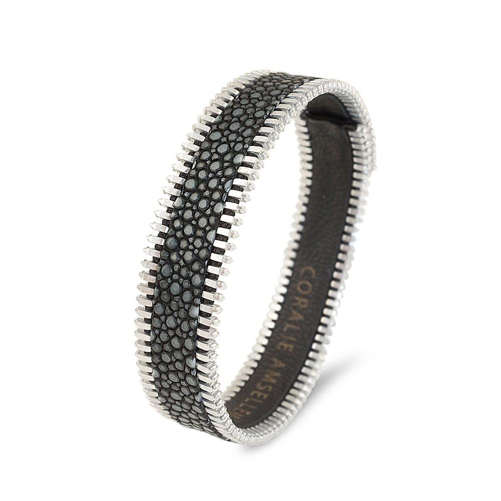 bracelet pour elle et lui galuchat gris et plaqué argent miss coralie paris diveene joaillerie