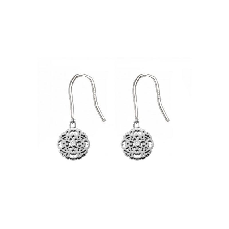Boucles d'oreilles en argent, Diamants , Dentelle M