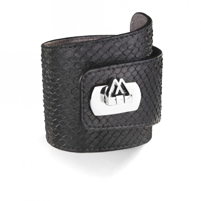 Bracelet en Cuir de Python Noir , Cadwall