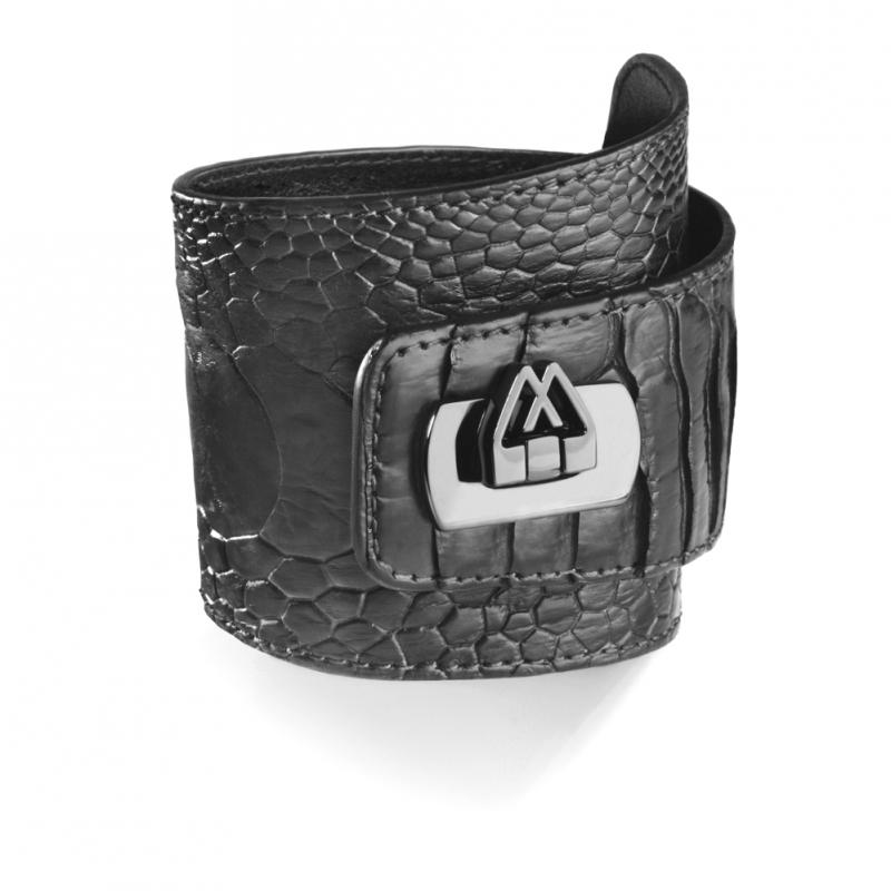 Bracelet en Cuir d'Autruche Noir , Cadwall