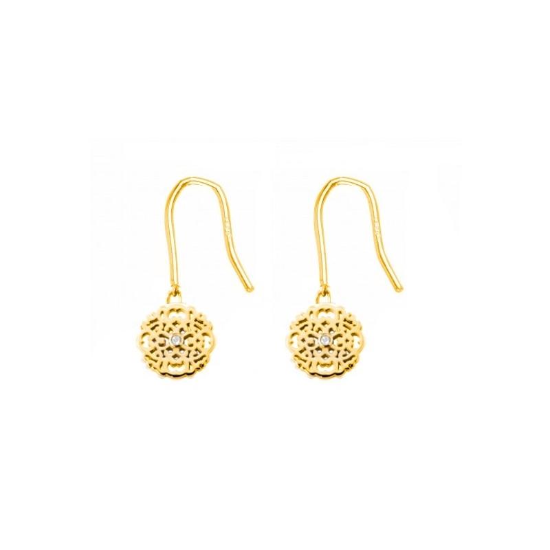 Boucles d'oreilles vermeil jaune, Diamants , Dentelle M