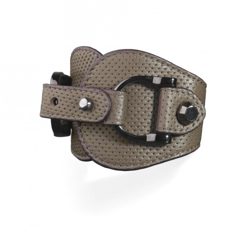Bracelet en Cuir Nappa Kaki , Ariel