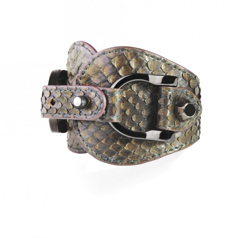 Bracelet en Cuir de Python Olive , Ariel