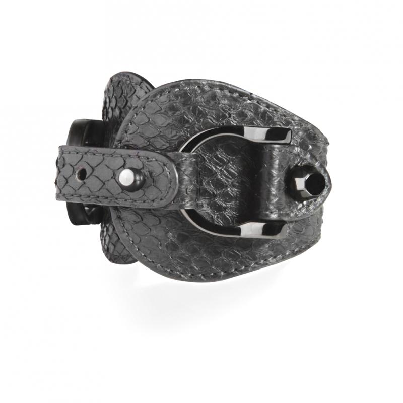 Bracelet en Cuir de Python Noir , Ariel