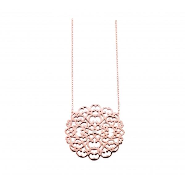 Collier argent 925 plaqué or rose diamant