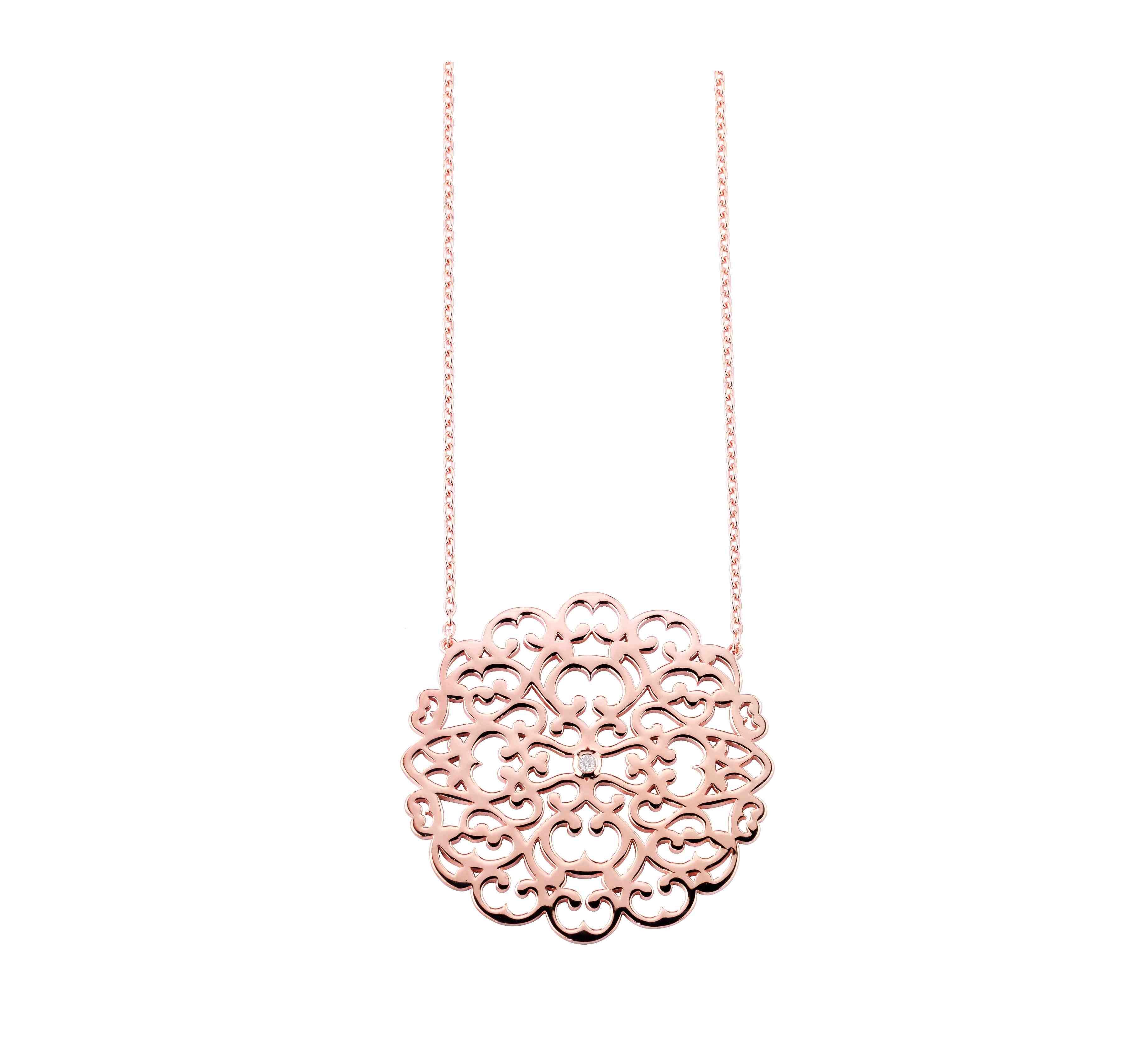 Bracelet argent 925 plaqué or rose diamant