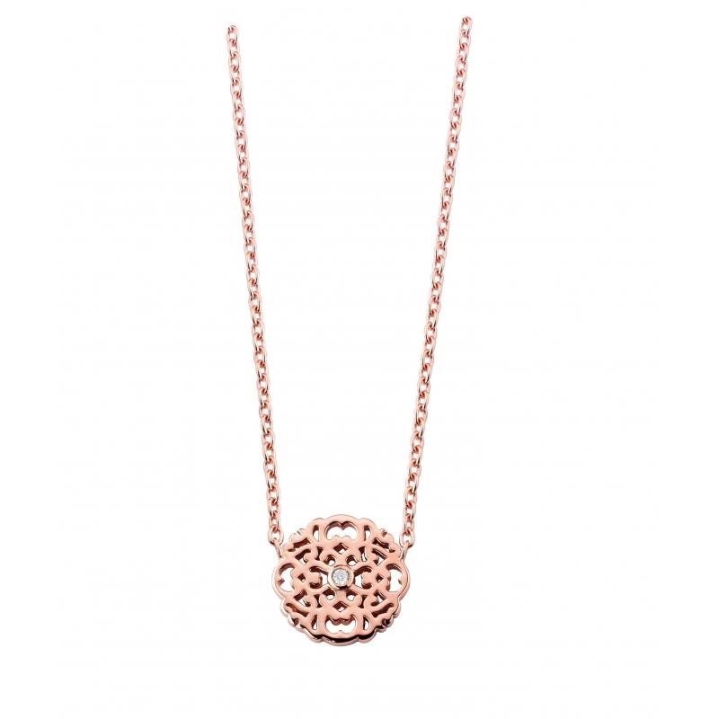 collier argent rose femme