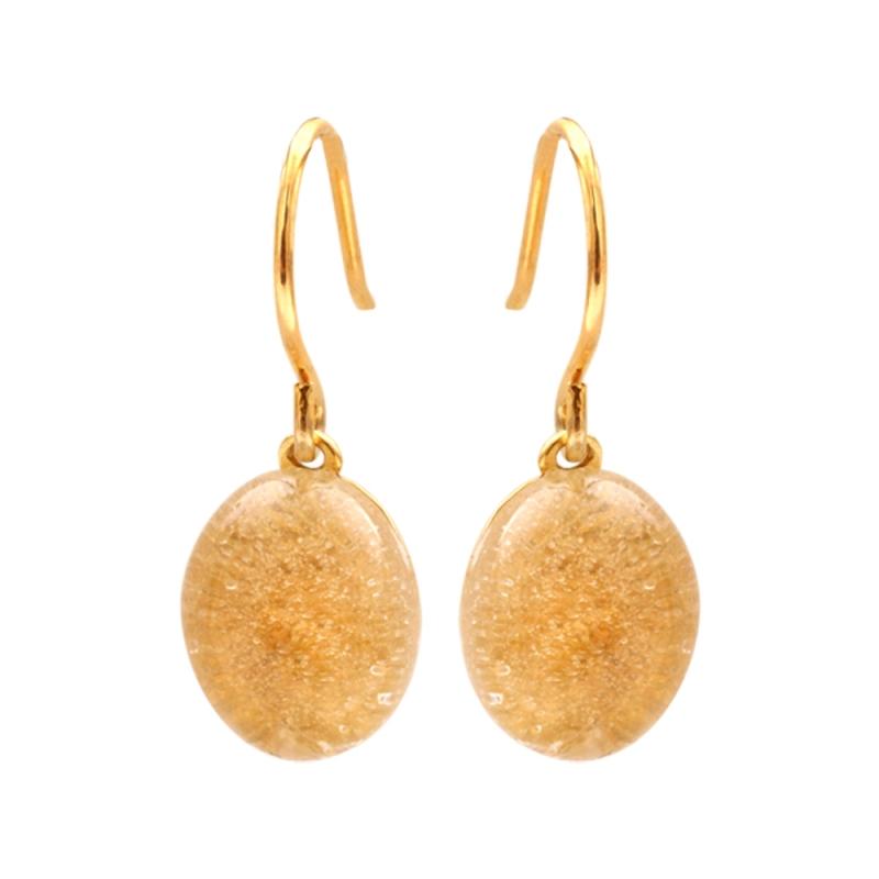 Yellow Gold Vermeil Quartz Earrings , Estella