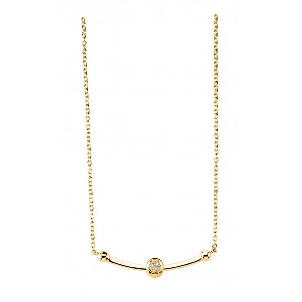 Collier argent 925 plaqué Or jaune  diamant