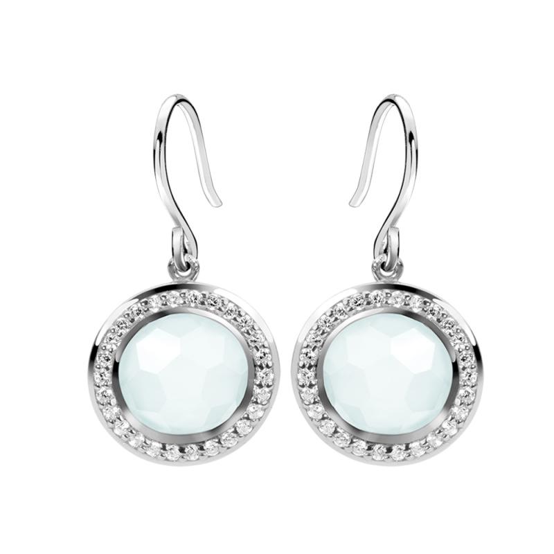 Silver Sky Blue Chalcedony Earrings , Riana