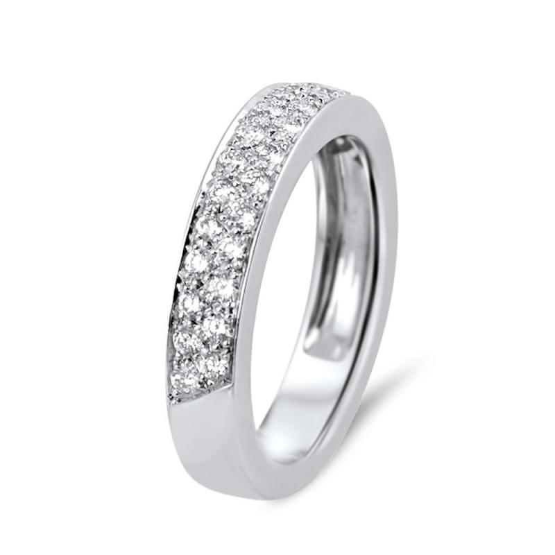 Demi alliance ruban or blanc, Diamants , Cassandre