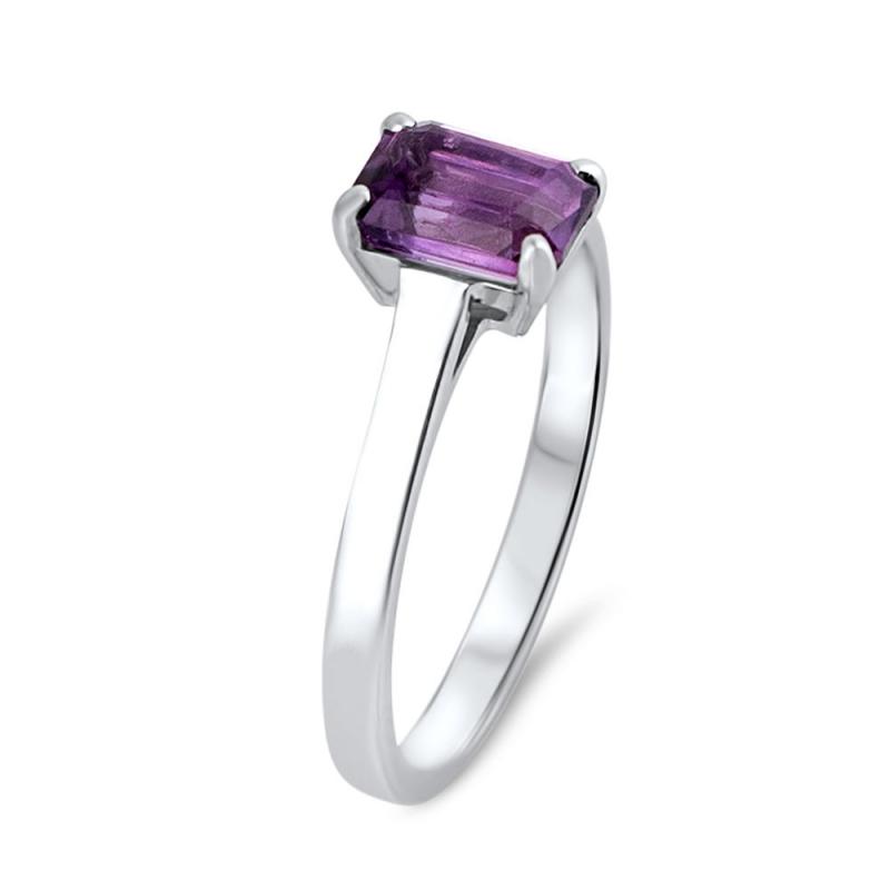 18k White Gold Amethyst Ring , Olivia