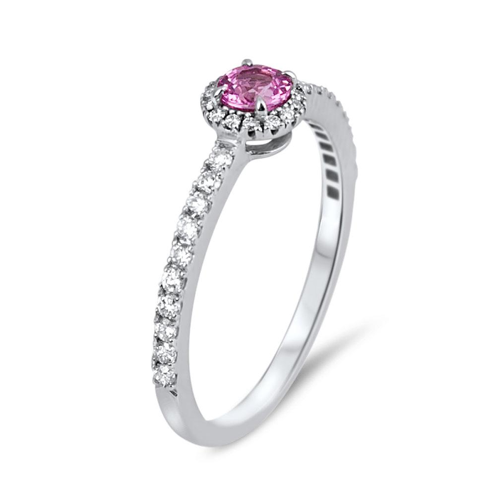 anoushka bague or blanc 18 carats saphir rose et diamants diveene joaillerie