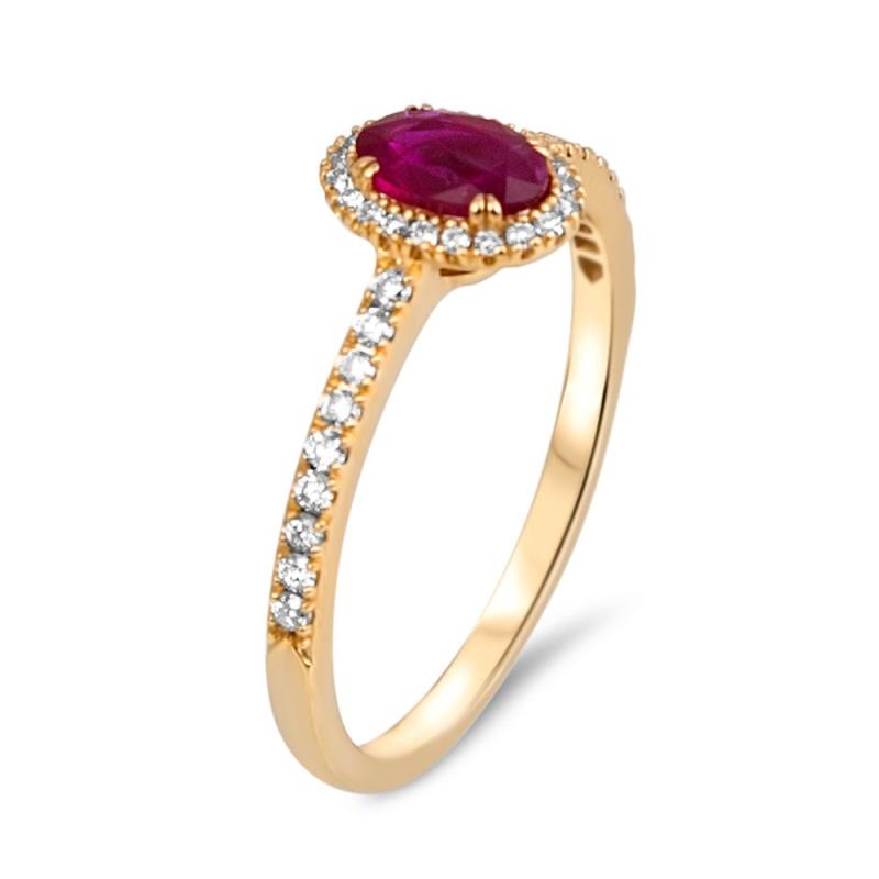 Bague Or jaune, Rubis et Diamants  , Goa