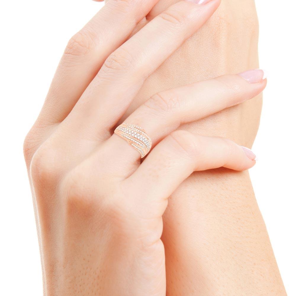 flamboyante bague or rose diamants bague fiançailles mariage diveene joaillerie