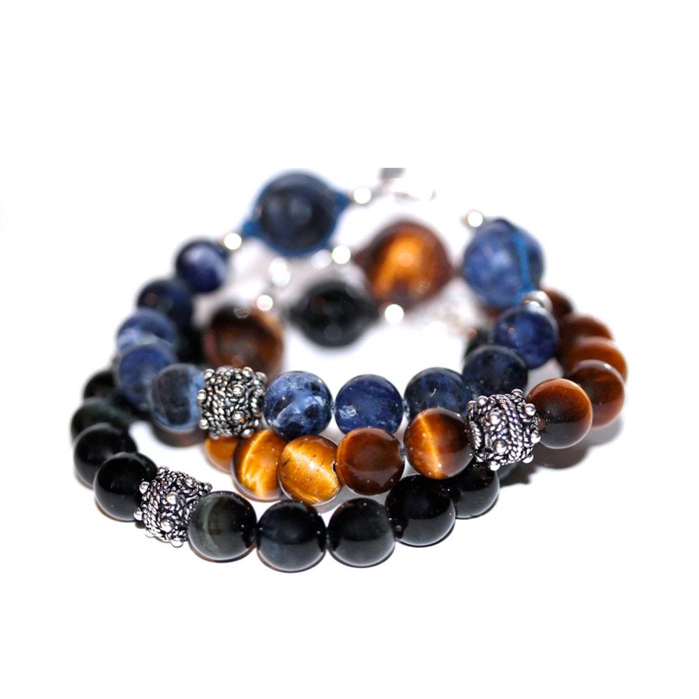 largesse bracelet indien en pierres naturelles 10mm et argent