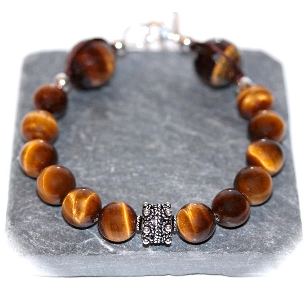 largesse bracelet indien oeil de tigre 10mm et argent