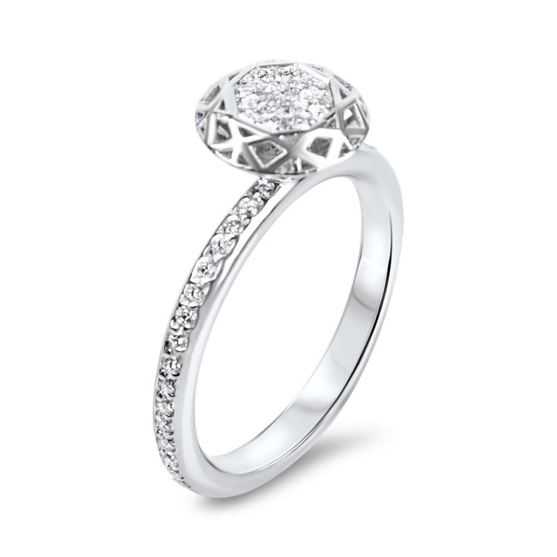 18k White Gold Diamond Ring , Shadow