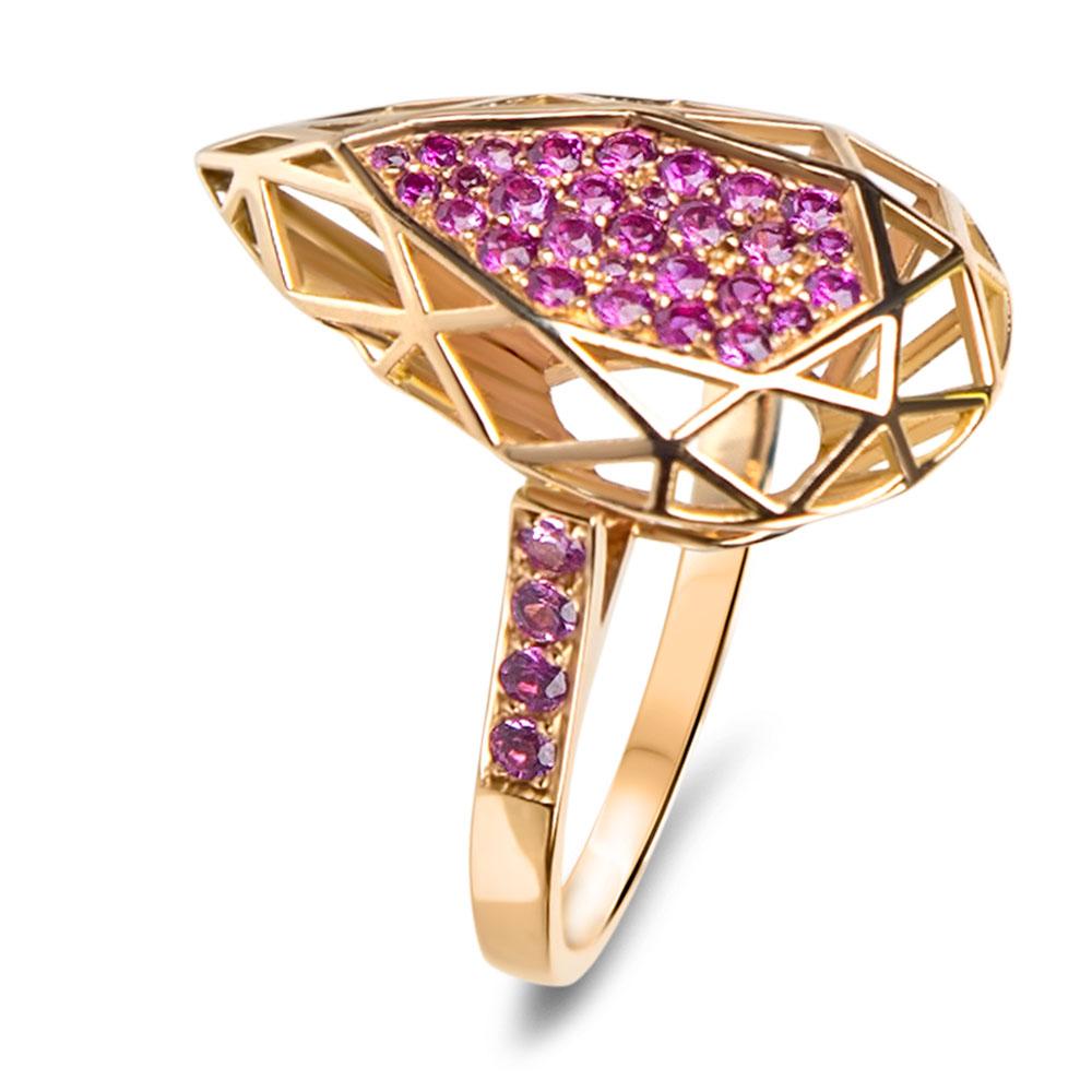 bague rose indienne haute joaillerie parisienne or et rubis fabrication artisanale diveene joaillerie