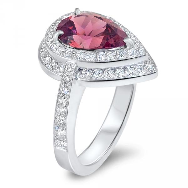 bague aspen fiancailles haute joaillerie parisienne or diamants rubellite fabrication artisanale diveene joaillerie